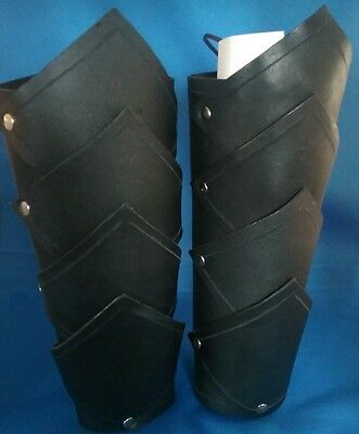 Black Brown Leather Bracers Larp Medieval Arm Armor SCA armour Cosplay Pirate