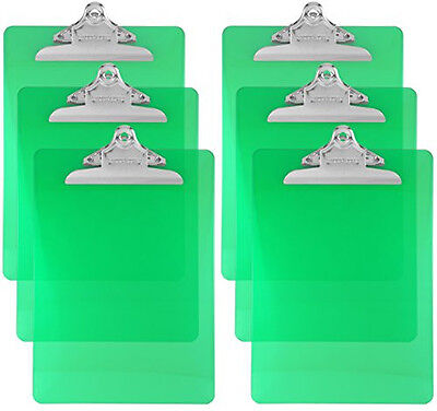 Trade Quest Plastic Clipboard Transparent Color Letter Size (Pack of 6) (Green)