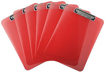 Trade Quest Plastic Clipboard Transparent Letter Size (Pack of 6) (Red)