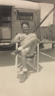 Vintage Photograph Great Portrait Of A Man On A Chair Posing Gay Interest 1940s