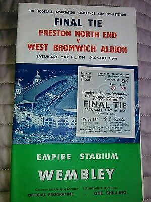 Preston NE V West Brom FA CUP FINAL TICKET/PROGRAMME 1/5/1954 NR MINT CONDITION