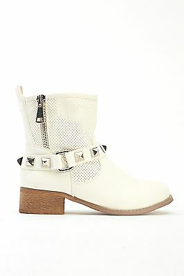 Womens Ladies White Faux Leather Block Heel Shoes Ankle Boots Size UK 5,6,8 New