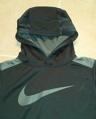 NIKE Therma-fit Boys Size Small Youth Hoodie Sweatshirt Black with Gray