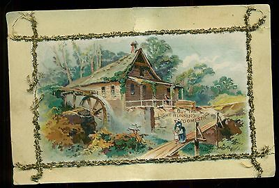 """1890's """"Light Running Domestic"""" Sewing Machine Stitched Advertising Card"""