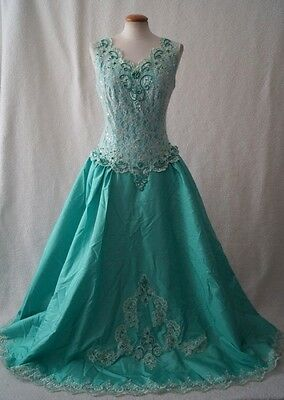 Vintage green ball evening victorian costume dress Size 12