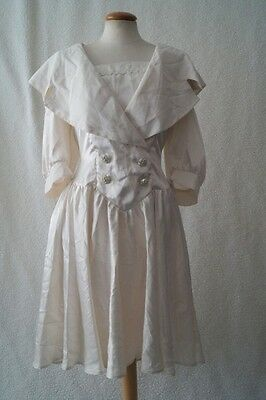 Vintage 80s cream steampunk victorian costume dress Size 14
