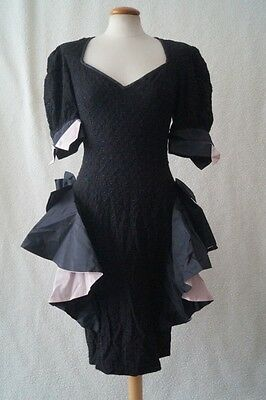 Vintage 80s black frill party cocktail costume dress Size 10