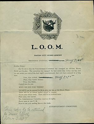 1925 Loyal Order of Moose(L.O.O.M.) Announcement Letter