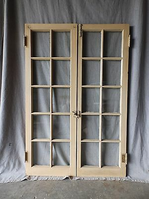 Pair Antique 10 Lite Casement Bookcase Cabinet Door Windows Vintage 50X17 41-17P