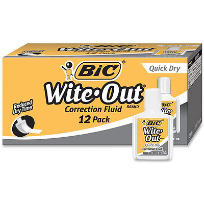 BIC Wite-Out Quick Dry Correction Fluid, 20 ml Bottle, White, - BICWOFQD12WE