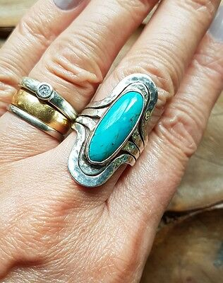 Beautiful Vintage Designer Sterling Silver Turquoise Ring- Ddd Mexico- Size O-P