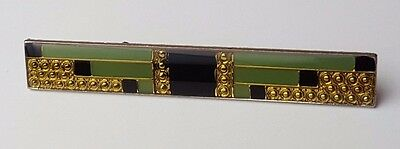 Antique / Vintage - Jewellery - Brooch - Gold Tone - Black & Green - Weight 9.0g