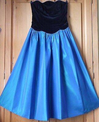 Vintage Laura Ashley size 10-12 strapless evening party dress ball gown