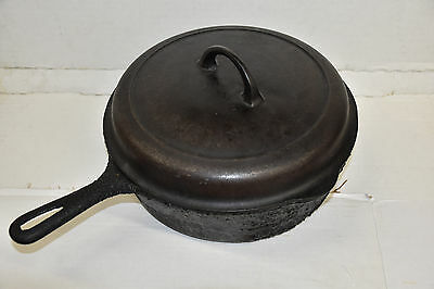 Griswold No 8 777 C Small Logo Cast Iron Chicken Fryer Deep Skillet & 1098 C Lid