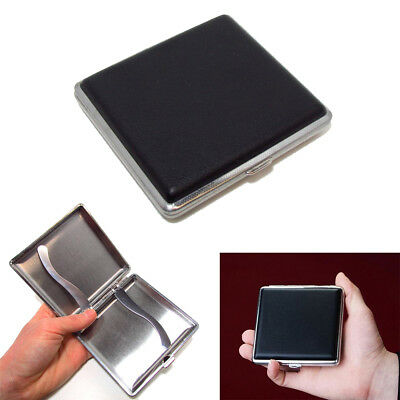 Mens Leather Metal Tobacco Hold 20 Cigarette Smoke Holder Storage Case Box Black