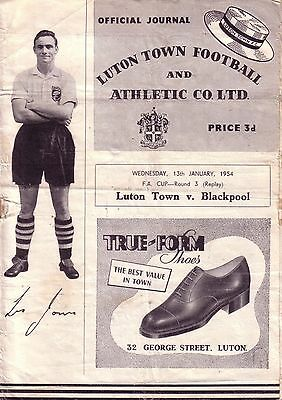 LUTON v BLACKPOOL 1953/54 FA CUP 3RD ROUND REPLAY
