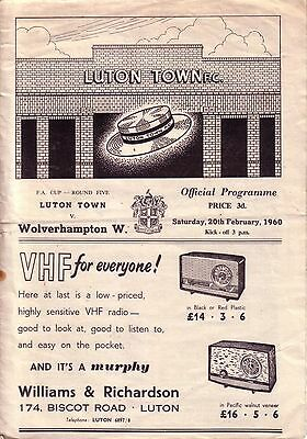 LUTON v WOLVES 1959/60 FA CUP 5TH ROUND