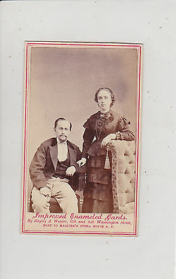 San Francisco, Ca. Victorian Couple. Antique Enameled Cdv By Bayley & Winter