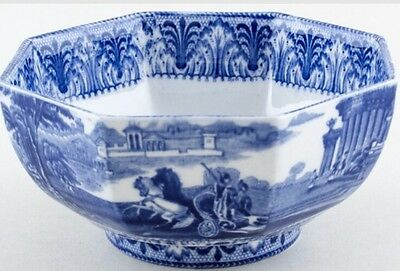 ANTIQUE 1930s BLUE & WHITE CAULDON CHINA CHARIOT HEXAGONAL BOWL.