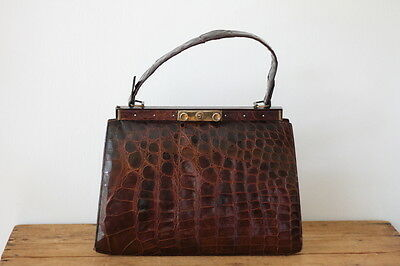 Vintage Alligator Crocodile 1940s 1950s Kelly Bag Large Handbag Purse Pocketbook