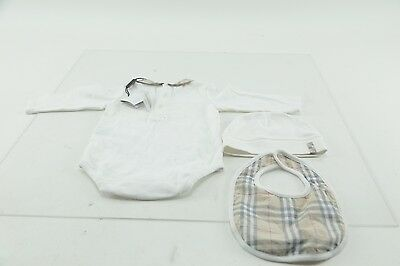 BURBERRY Carina infant Baby 3 piece Ice Pink Check Trim Gift Set SZ 6&12M