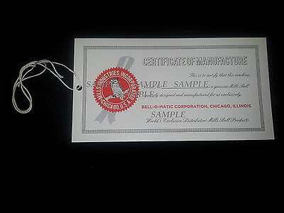 Mills Bell-O-Matic Certificate From The Late 40's 50's Antique Slot Machine Tag