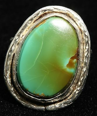 Vintage Native American Sterling Silver Green KING'S MANASSA Turquoise Ring 925