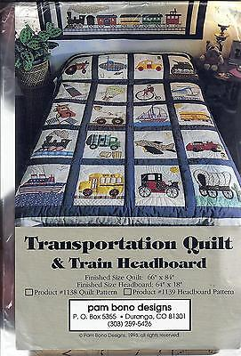Transportation Quilt & Train Headboard Quilt Pattern Pam Bono - new & sealed