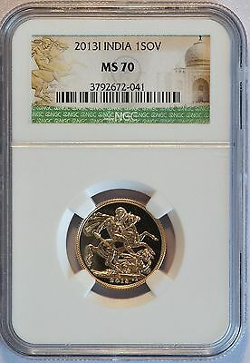 2013-I Great Britian / India Gold 1 Sovereign Coin (NGC MS 70 MS70) (LV#667)