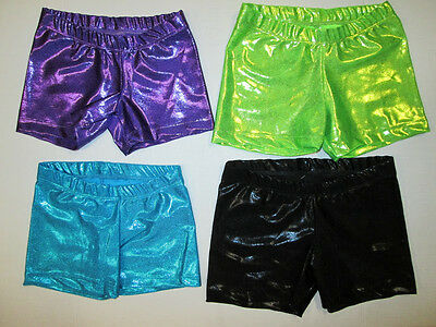 NEW Girl's XS SC MC LC Child Shorts Dance Gymnastics Hot Gym Booty Mystique Foil