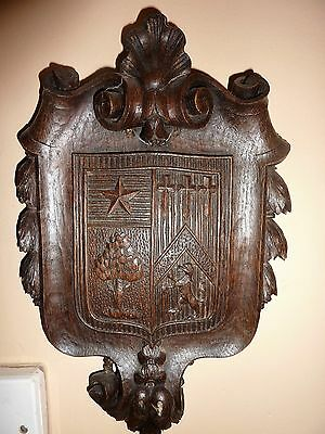 Antique Authentic Historic Heraldic Hand Carved Wall Plaque Possibly Suffolk