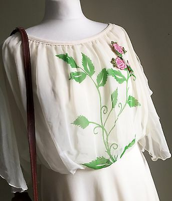 VINTAGE Cream Embroidered FLORAL 70s DRESS - Summer Vtg WEDDING Retro - 14