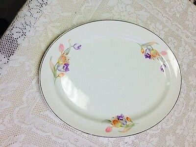 Pastel Tulip Pattern - Hall Superior Quality Dinnerware- 13.5 Inch Oval Platter