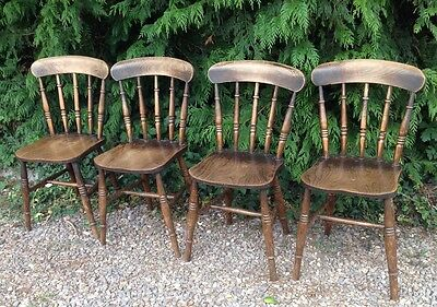 19thC ELM & BEECH SPINDLE BACK DINING CHAIRS X 4 COUNTRY HOUSE
