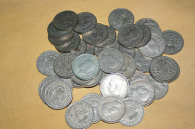 A MIXTURE of 46 GEORGE V1 FLORINS 1947 to 51  - GOOD CONDITION