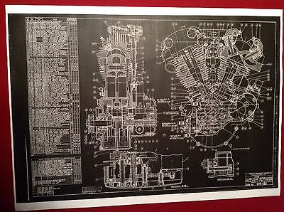 Harley Davidson Collectible Vintage Knucklehead Motor Blueprint Poster Sign