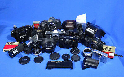 LOT of Various Canon 35mm Film Cameras, Cases and Misc Canon items.  #L231EW