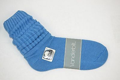 VINTAGE 1980's 1 Pair Cotton SLOUCH Baggy Push-Down SOCKS Blue - NEW OLD STOCK