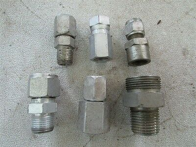 """6 Misc. 1/4"""" to 1/2"""" NPT to Tube and Hose Fittings D-7"""