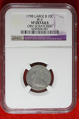 1798 NGC VF DETAILS LARGE 8 Draped Bust Dime w/ Heradic Eagle Reverse. #CS0002
