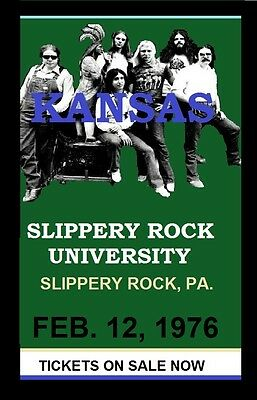 KANSAS - LIVE 1976 CONCERT POSTER 11in. by 17in. SLIPPERY ROCK UNIVERSITY PA.