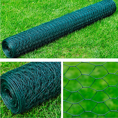 S# New 1x25M Chicken Wire Pet Mesh Fence Fencing Coop Aviary Galvanised 6 Octago