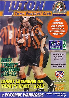 LUTON v WYCOMBE WANDERERS 1996/97 DIVISION 2