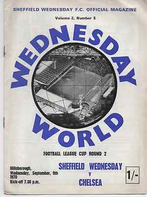 1970-Sheffield-Sheff Wed V Chelsea-League Cup 2Nd Round Football Programme