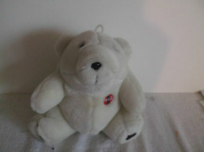 "Coca Cola Polar Bear  Coke White Plush Stuffed Animal 7"" 1996 Emblem on Chest"