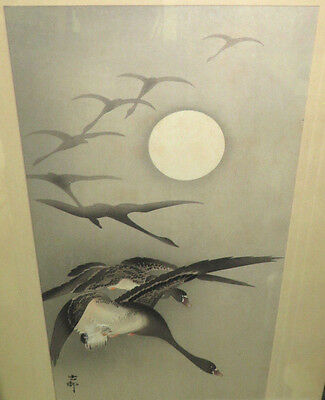 Ohara Koson  1877-1945 Japanese Vintage Woodblock Print Geese In Moonlight