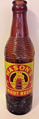 Vintage Mason's Root Beer Amber Bottle Acl Label - Chicago Illinois - Vg Cond