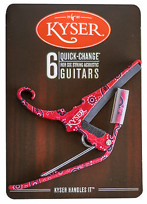 Kyser  Quick Change Red Bandana Capo For Acoustic Guitars - Made In Usa