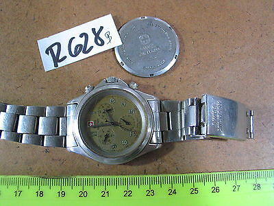Vintage SWISS MILITARY Chronograph ISA 815-1 w band Gents Parts Watch AS-IS
