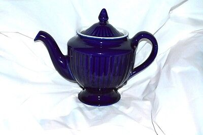 Vintage Hall Navy/Cobalt Blue and White Teapot with Lid